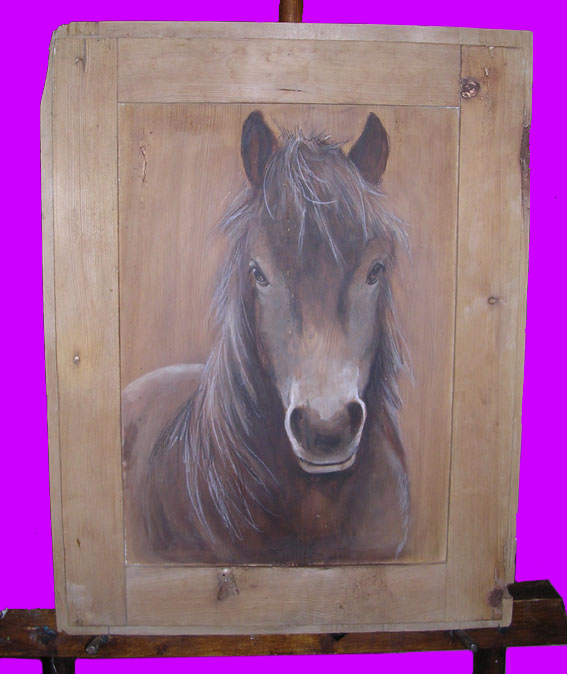 Peinture animale d 39 apres photo huile gouache sur toile bois fresque for Peinture patinee sur bois